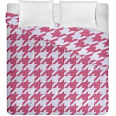 Houndstooth1 White Marble & Pink Denim Duvet Cover Double Side (king Size)