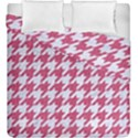 HOUNDSTOOTH1 WHITE MARBLE & PINK DENIM Duvet Cover Double Side (King Size) View1
