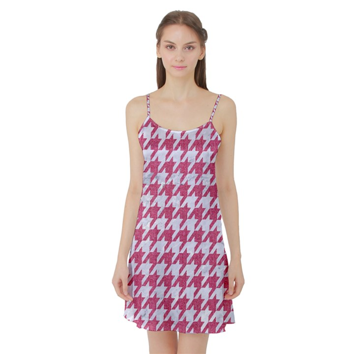 HOUNDSTOOTH1 WHITE MARBLE & PINK DENIM Satin Night Slip