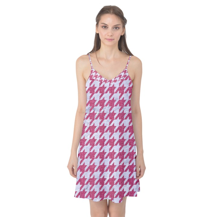 HOUNDSTOOTH1 WHITE MARBLE & PINK DENIM Camis Nightgown