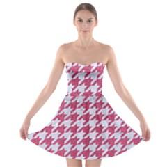 Houndstooth1 White Marble & Pink Denim Strapless Bra Top Dress by trendistuff