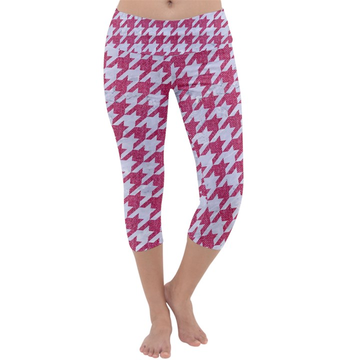 HOUNDSTOOTH1 WHITE MARBLE & PINK DENIM Capri Yoga Leggings
