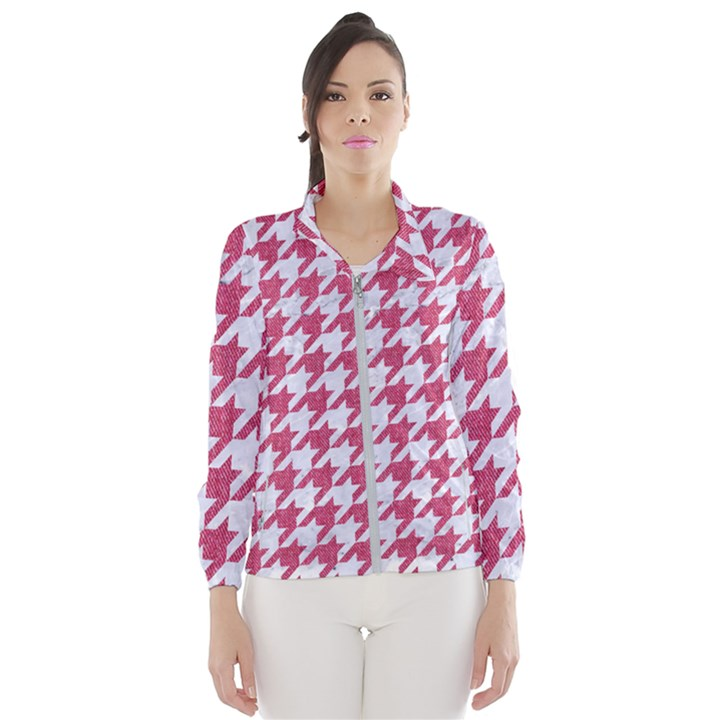 HOUNDSTOOTH1 WHITE MARBLE & PINK DENIM Windbreaker (Women)