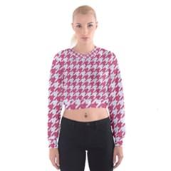 HOUNDSTOOTH1 WHITE MARBLE & PINK DENIM Cropped Sweatshirt