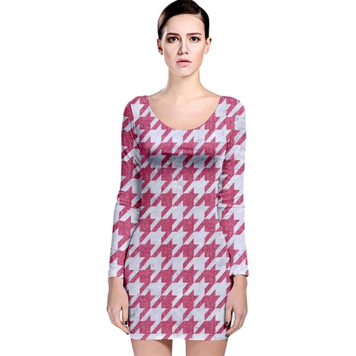 HOUNDSTOOTH1 WHITE MARBLE & PINK DENIM Long Sleeve Velvet Bodycon Dress