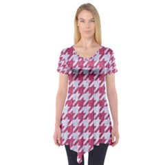Houndstooth1 White Marble & Pink Denim Short Sleeve Tunic