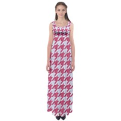 Houndstooth1 White Marble & Pink Denim Empire Waist Maxi Dress