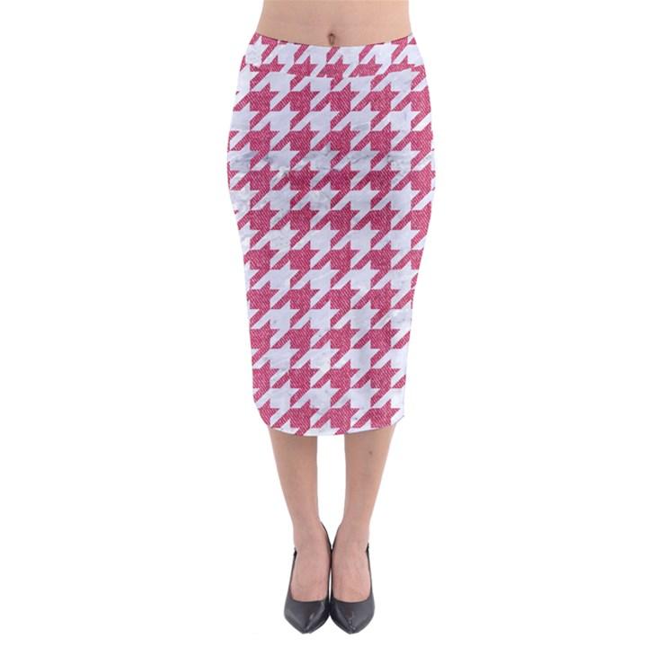 HOUNDSTOOTH1 WHITE MARBLE & PINK DENIM Midi Pencil Skirt
