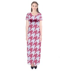 Houndstooth1 White Marble & Pink Denim Short Sleeve Maxi Dress