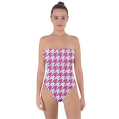 Houndstooth1 White Marble & Pink Denim Tie Back One Piece Swimsuit