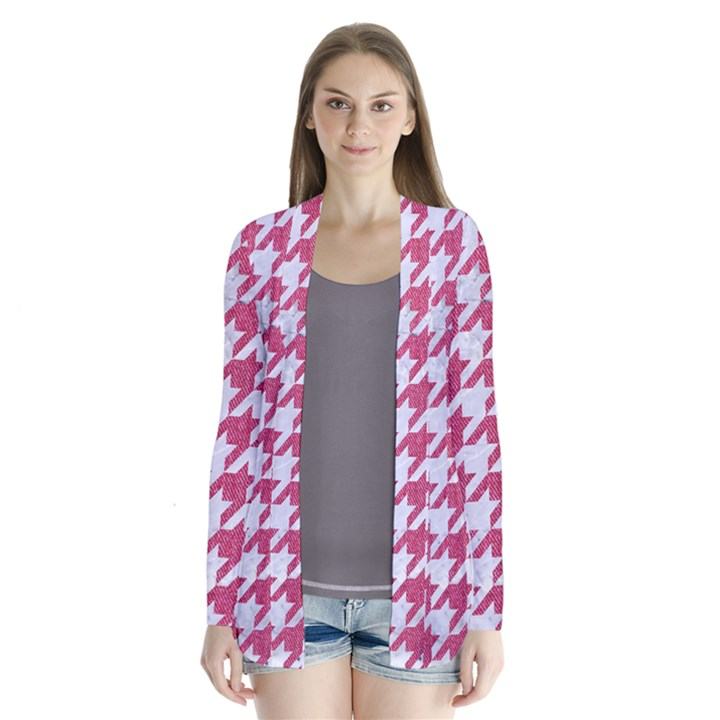 HOUNDSTOOTH1 WHITE MARBLE & PINK DENIM Drape Collar Cardigan