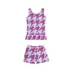 HOUNDSTOOTH1 WHITE MARBLE & PINK DENIM Kid s Boyleg Swimsuit