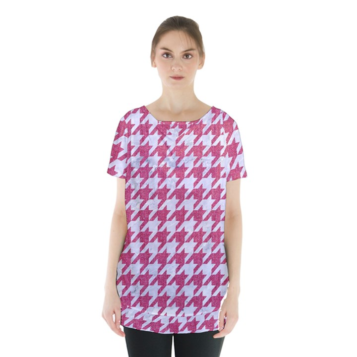 HOUNDSTOOTH1 WHITE MARBLE & PINK DENIM Skirt Hem Sports Top