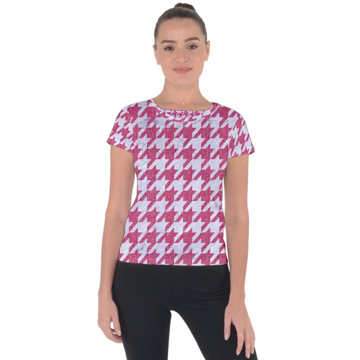 HOUNDSTOOTH1 WHITE MARBLE & PINK DENIM Short Sleeve Sports Top