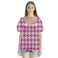 Houndstooth1 White Marble & Pink Denim V Neck Flutter Sleeve Top by trendistuff