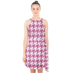 Houndstooth1 White Marble & Pink Denim Halter Collar Waist Tie Chiffon Dress