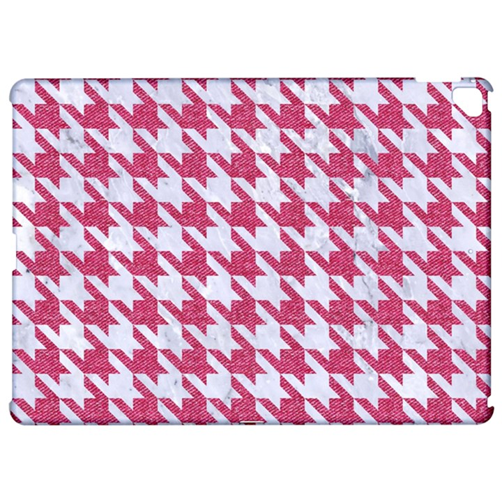HOUNDSTOOTH1 WHITE MARBLE & PINK DENIM Apple iPad Pro 12.9   Hardshell Case