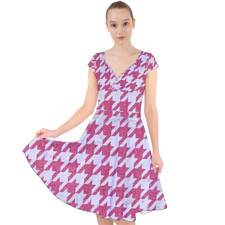 HOUNDSTOOTH1 WHITE MARBLE & PINK DENIM Cap Sleeve Front Wrap Midi Dress
