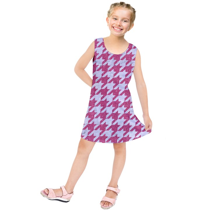 HOUNDSTOOTH1 WHITE MARBLE & PINK DENIM Kids  Tunic Dress
