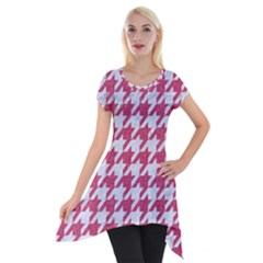 Houndstooth1 White Marble & Pink Denim Short Sleeve Side Drop Tunic
