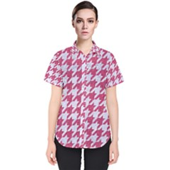 Houndstooth1 White Marble & Pink Denim Women s Short Sleeve Shirt