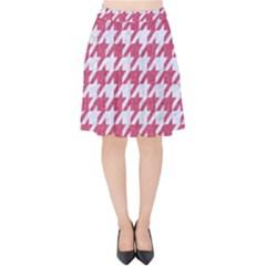 Houndstooth1 White Marble & Pink Denim Velvet High Waist Skirt
