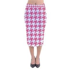 Houndstooth1 White Marble & Pink Denim Velvet Midi Pencil Skirt