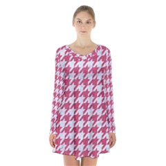 Houndstooth1 White Marble & Pink Denim Long Sleeve Velvet V Neck Dress