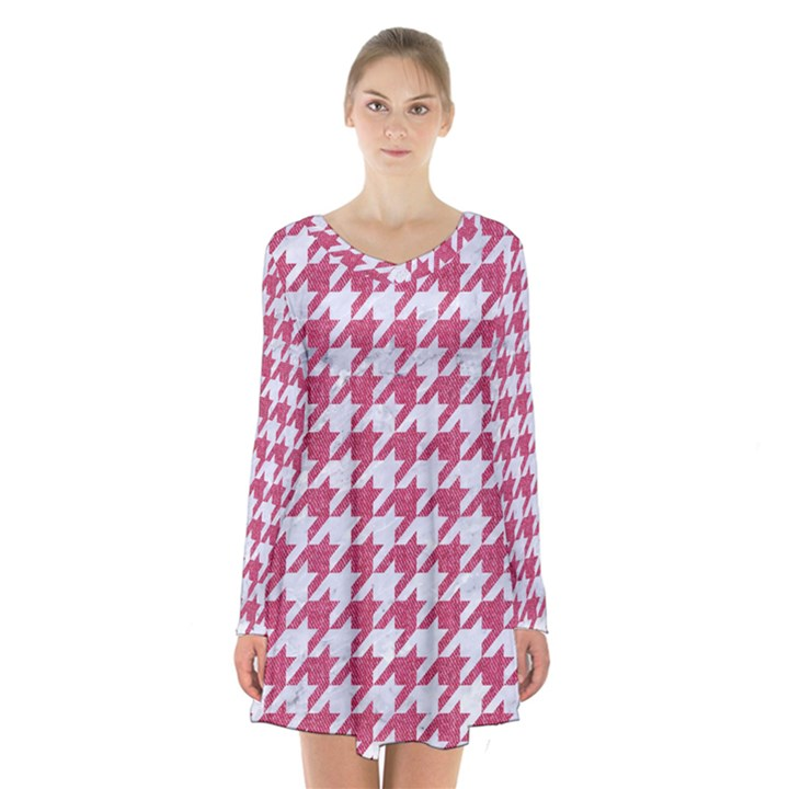 HOUNDSTOOTH1 WHITE MARBLE & PINK DENIM Long Sleeve Velvet V-neck Dress