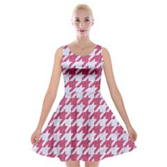 Houndstooth1 White Marble & Pink Denim Velvet Skater Dress