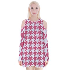 Houndstooth1 White Marble & Pink Denim Velvet Long Sleeve Shoulder Cutout Dress