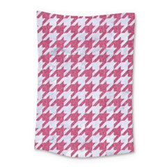 HOUNDSTOOTH1 WHITE MARBLE & PINK DENIM Small Tapestry