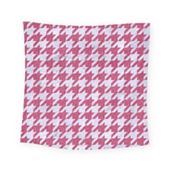 Houndstooth1 White Marble & Pink Denim Square Tapestry (small)