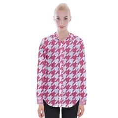 Houndstooth1 White Marble & Pink Denim Womens Long Sleeve Shirt