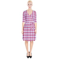 Houndstooth1 White Marble & Pink Denim Wrap Up Cocktail Dress