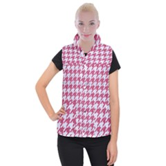 HOUNDSTOOTH1 WHITE MARBLE & PINK DENIM Women s Button Up Vest