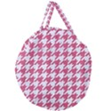 HOUNDSTOOTH1 WHITE MARBLE & PINK DENIM Giant Round Zipper Tote View1