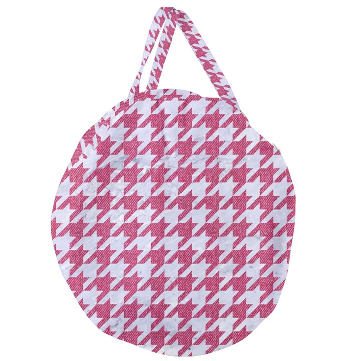 HOUNDSTOOTH1 WHITE MARBLE & PINK DENIM Giant Round Zipper Tote