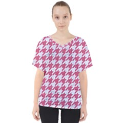 Houndstooth1 White Marble & Pink Denim V Neck Dolman Drape Top