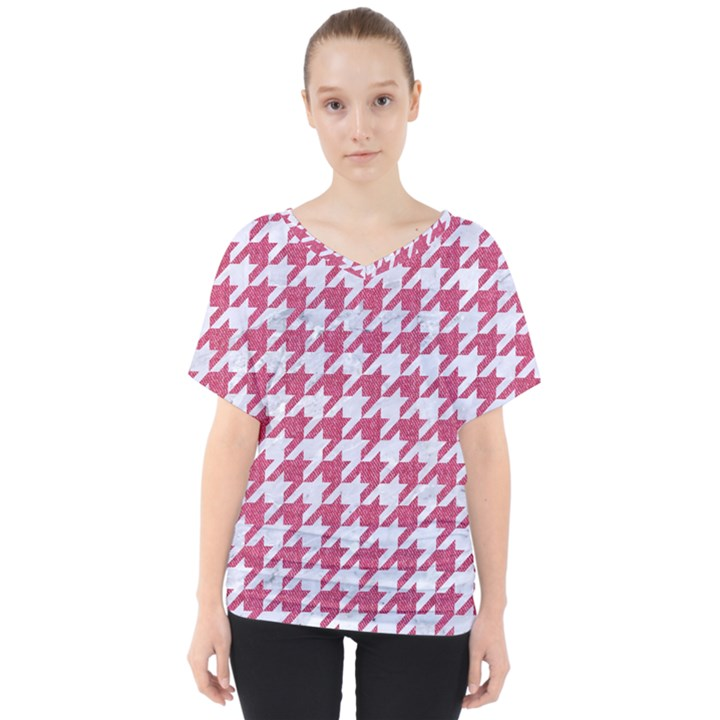 HOUNDSTOOTH1 WHITE MARBLE & PINK DENIM V-Neck Dolman Drape Top