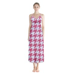 Houndstooth1 White Marble & Pink Denim Button Up Chiffon Maxi Dress