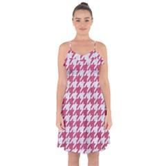 HOUNDSTOOTH1 WHITE MARBLE & PINK DENIM Ruffle Detail Chiffon Dress