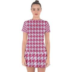 HOUNDSTOOTH1 WHITE MARBLE & PINK DENIM Drop Hem Mini Chiffon Dress