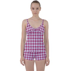 Houndstooth1 White Marble & Pink Denim Tie Front Two Piece Tankini