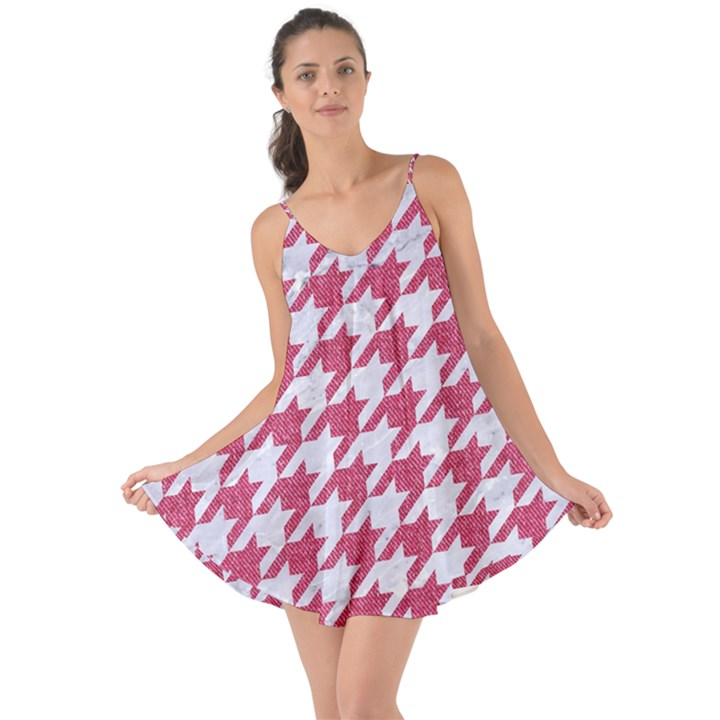 HOUNDSTOOTH1 WHITE MARBLE & PINK DENIM Love the Sun Cover Up