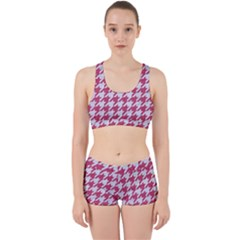 Houndstooth1 White Marble & Pink Denim Work It Out Gym Set