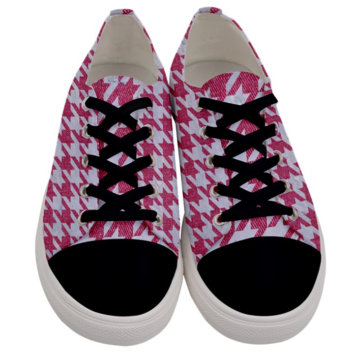 HOUNDSTOOTH1 WHITE MARBLE & PINK DENIM Men s Low Top Canvas Sneakers