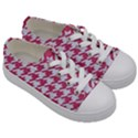 HOUNDSTOOTH1 WHITE MARBLE & PINK DENIM Kids  Low Top Canvas Sneakers View3