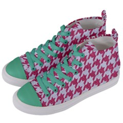 HOUNDSTOOTH1 WHITE MARBLE & PINK DENIM Women s Mid-Top Canvas Sneakers