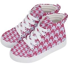 HOUNDSTOOTH1 WHITE MARBLE & PINK DENIM Kid s Hi-Top Skate Sneakers